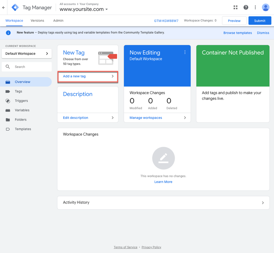 The workspace of Google Tag Manager