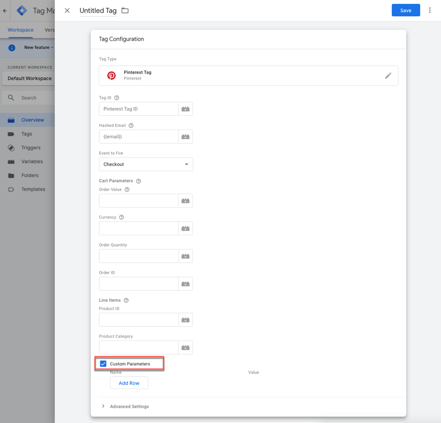Custom Parameters box checked in Tag Configuration in Google Tag Manager